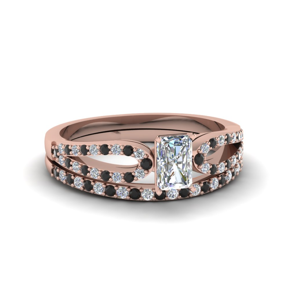 radiant cut loop ring with black diamond matching band in 14K rose gold FDENS3323RAGBLACK NL RG