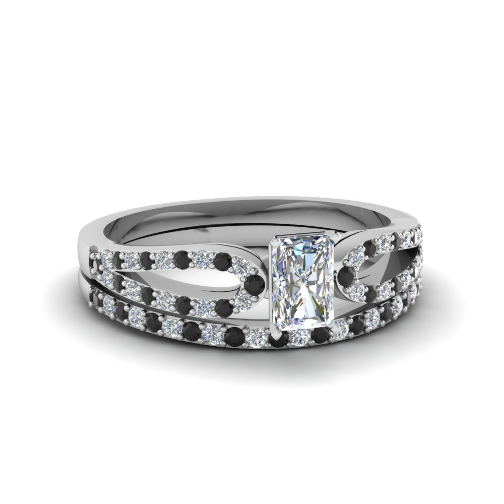 radiant cut loop ring with black diamond matching band in 14K white gold FDENS3323RAGBLACK NL WG