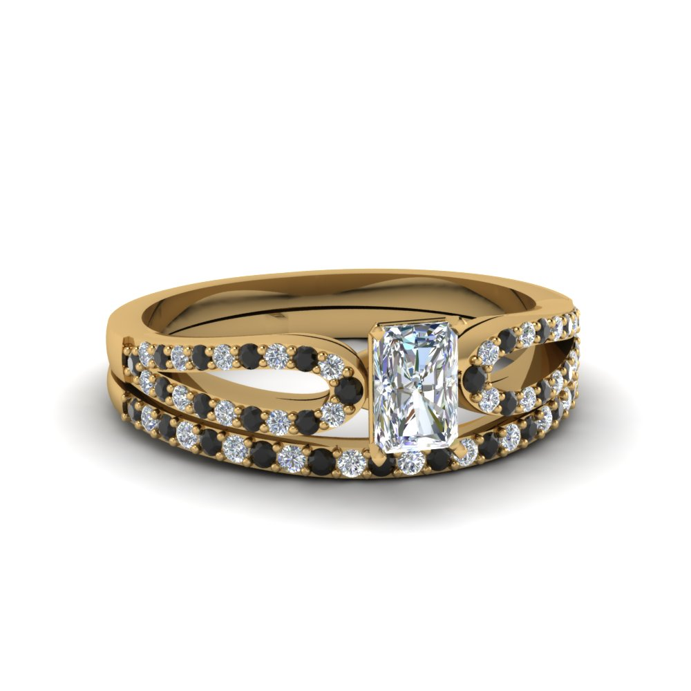 radiant cut loop ring with black diamond matching band in 18K yellow gold FDENS3323RAGBLACK NL YG