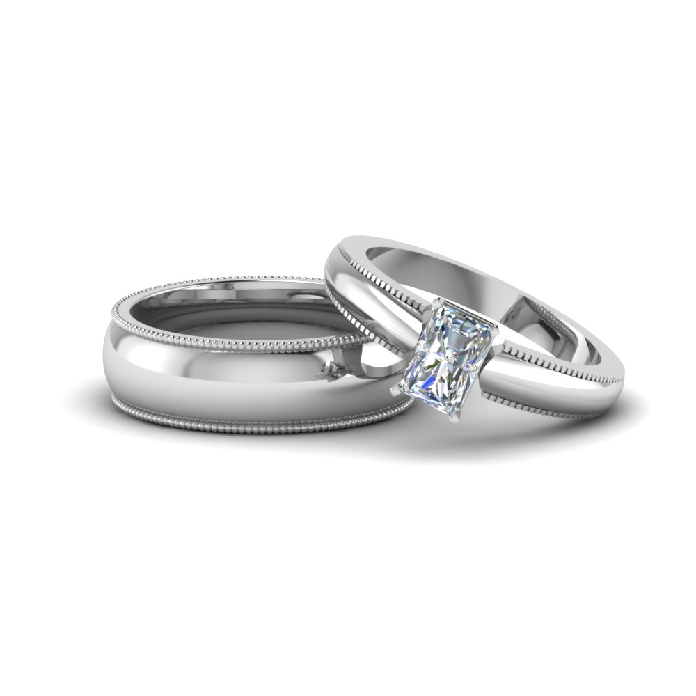 radiant cut matching wedding anniversary ring with band for him and her in 14K white gold FD8147B NL WG