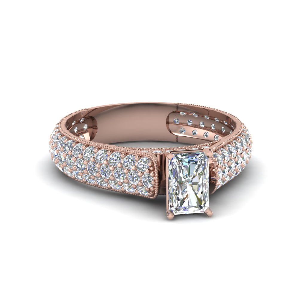 radiant cut milgrain multi row pave diamond engagement ring in 14K rose gold FDENS1452RAR NL RG