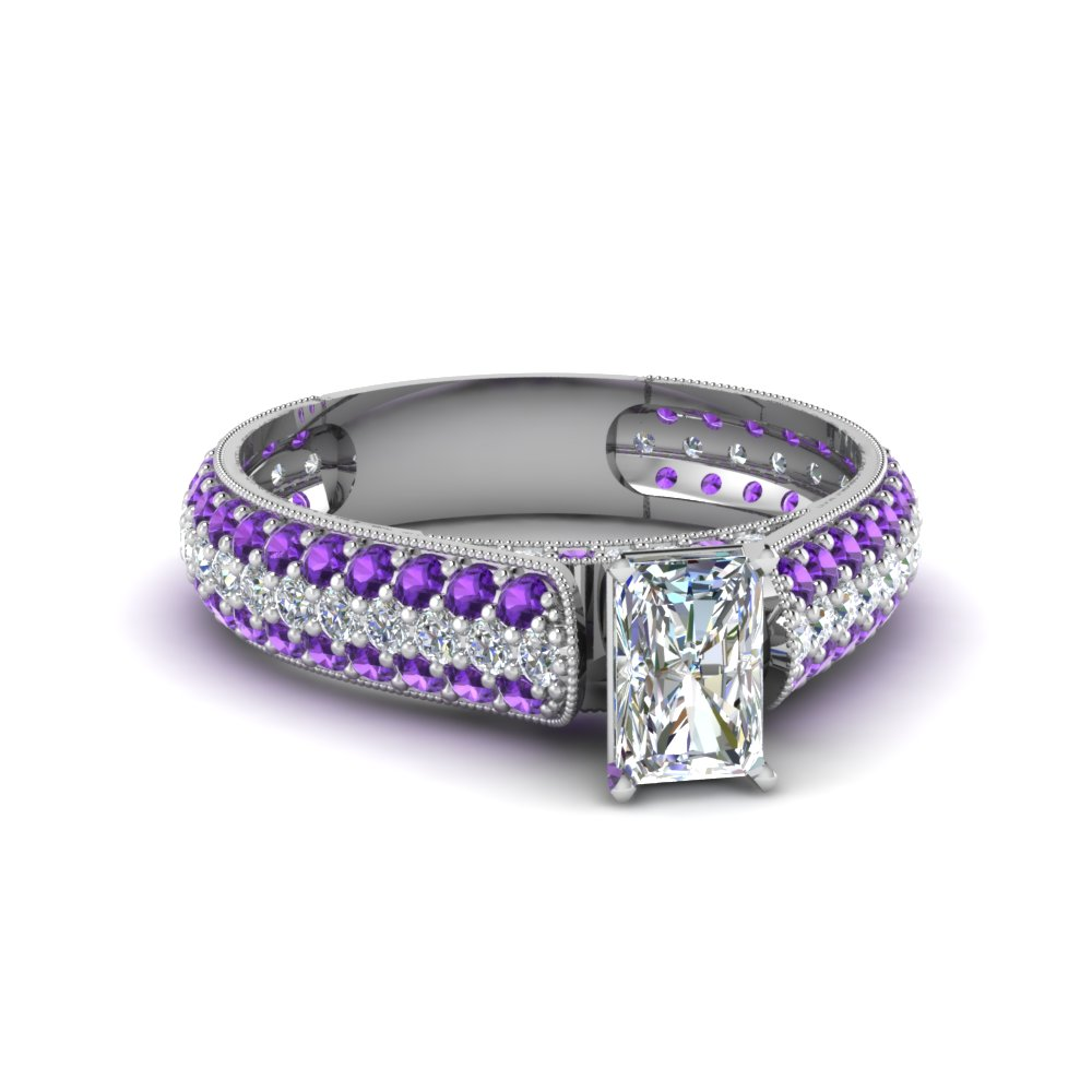 radiant cut milgrain multi row pave diamond engagement ring with purple topaz in 950 Platinum FDENS1452RARGVITO NL WG