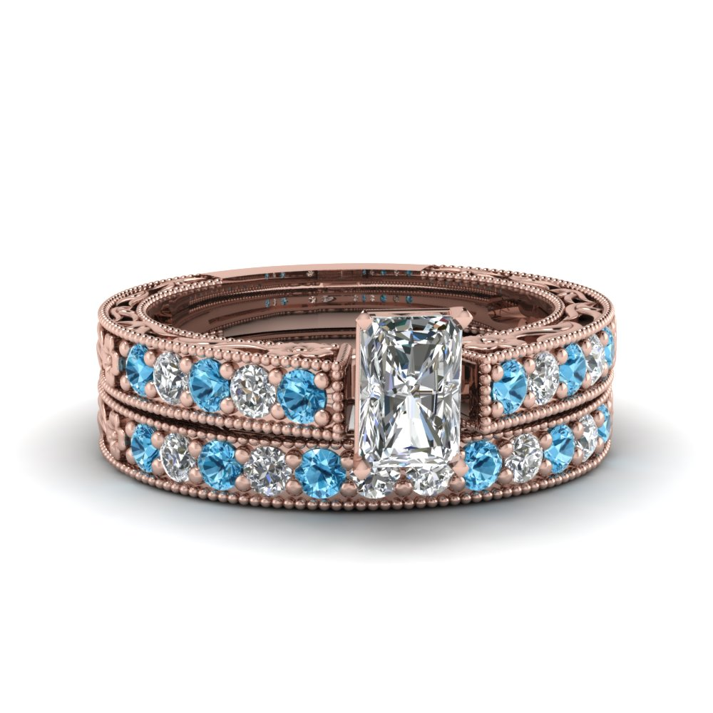 radiant cut milgrain pave diamond wedding ring sets with blue topaz in FDENS3506RAGICBLTO NL RG