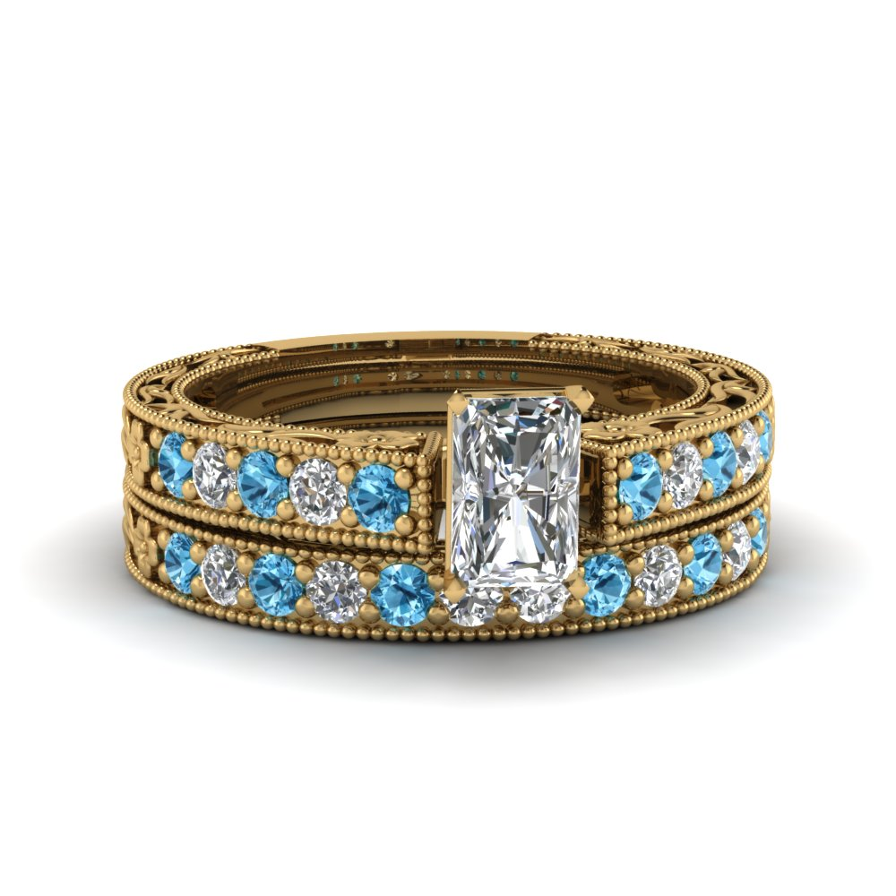 radiant cut milgrain pave lab diamond wedding ring sets with blue topaz in FDENS3506RAGICBLTO NL YG