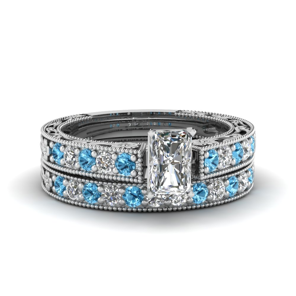 radiant cut milgrain pave diamond wedding ring sets with blue topaz in FDENS3506RAGICBLTO NL WG