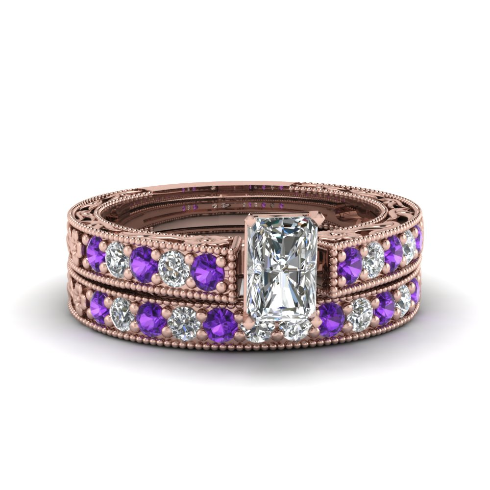 radiant cut milgrain pave lab diamond wedding ring sets with purple topaz in FDENS3506RAGVITO NL RG