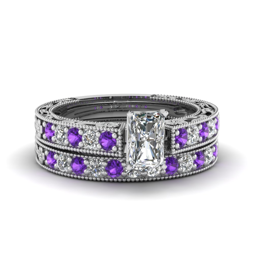 radiant cut milgrain pave lab diamond wedding ring sets with purple topaz in FDENS3506RAGVITO NL WG