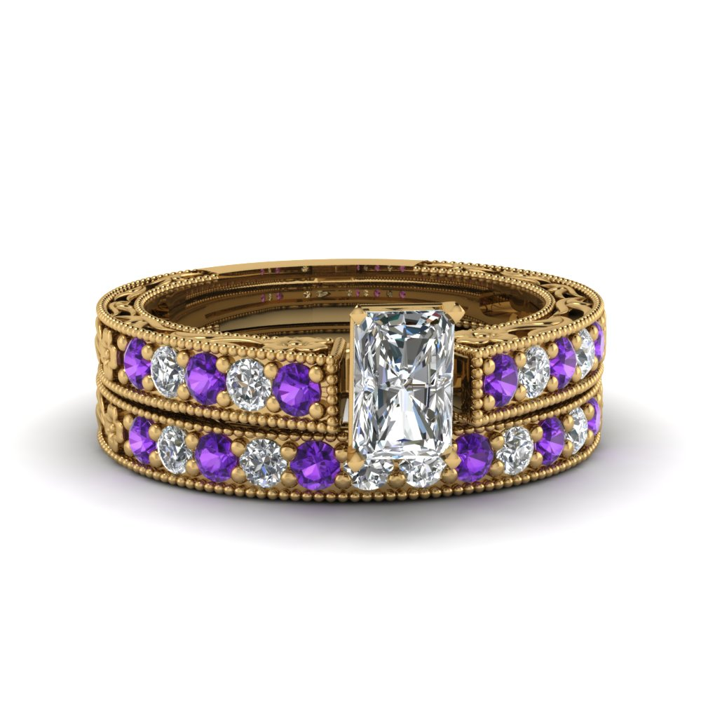 radiant cut milgrain pave lab diamond wedding ring sets with purple topaz in FDENS3506RAGVITO NL YG