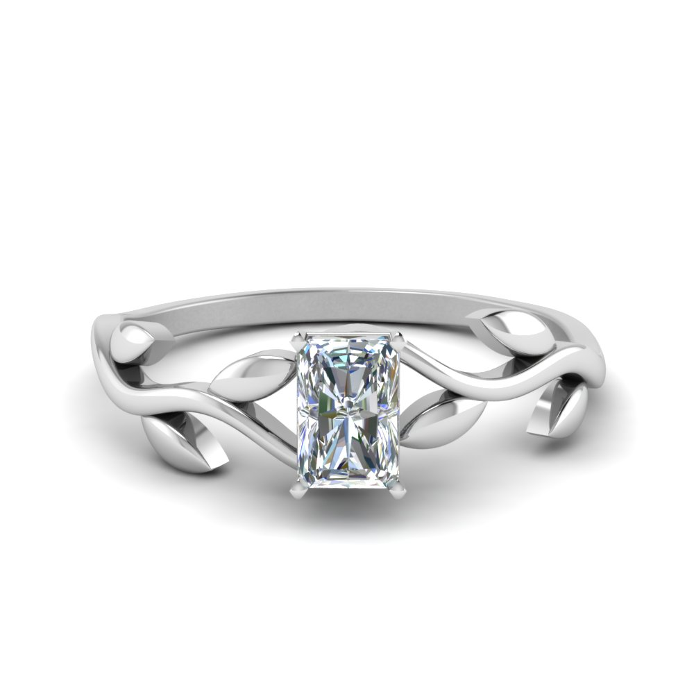 radiant cut nature inspired single diamond leaf engagement ring in FD8400RAR NL WG