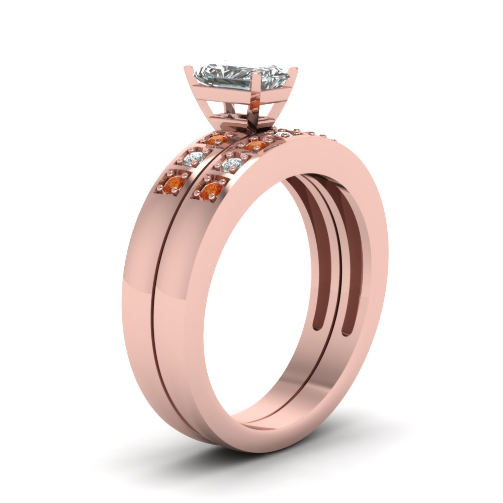 Radiant Cut Pave Accent Diamond Wedding Ring Sets With Orange ...