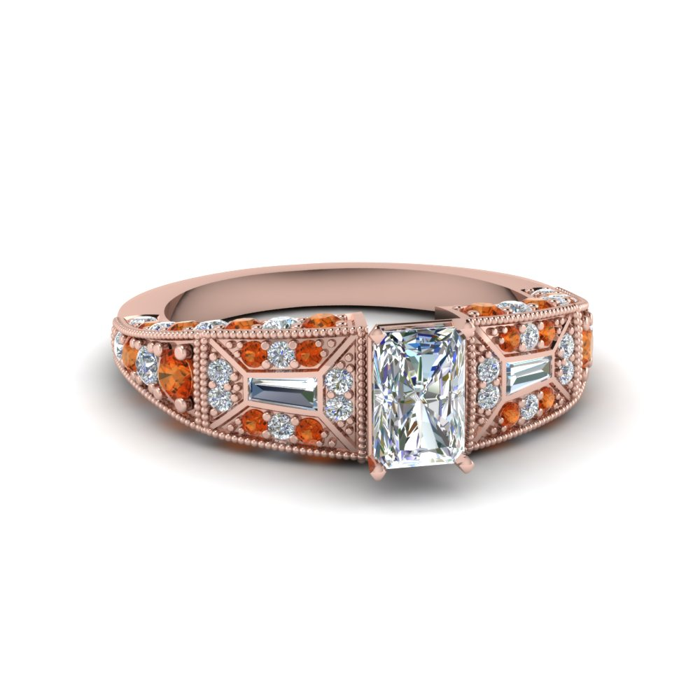 radiant cut victorian vintage style moissanite engagement ring with orange sapphire in FDENR8601RARGSAOR NL RG