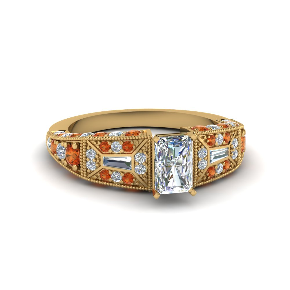 radiant cut victorian vintage style diamond engagement ring with orange sapphire in FDENR8601RARGSAOR NL YG