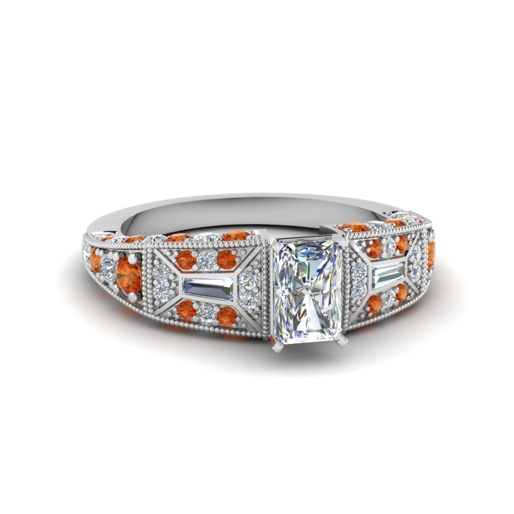 radiant cut victorian vintage style diamond engagement ring with orange sapphire in FDENR8601RARGSAOR NL WG