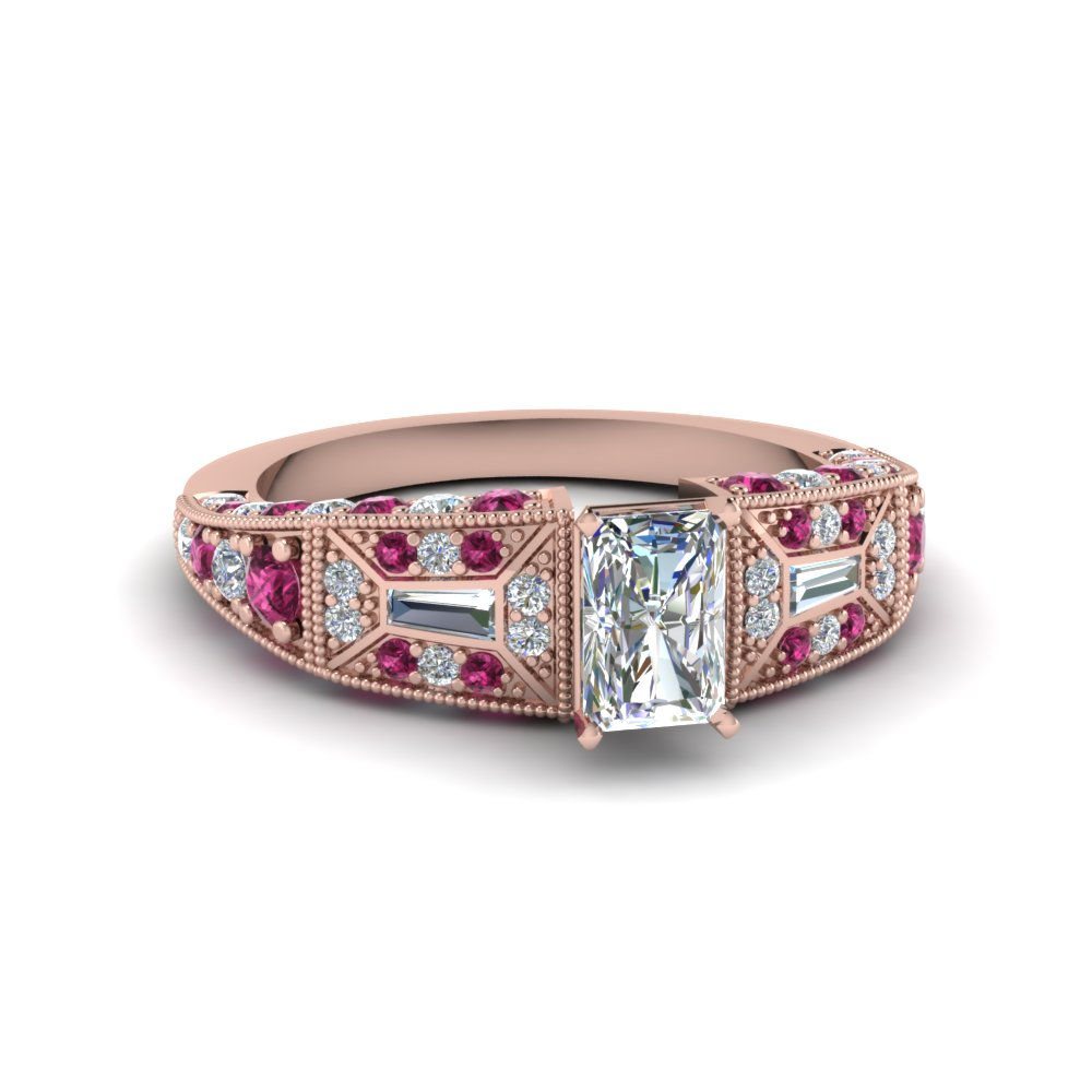 radiant cut victorian vintage style moissanite engagement ring with pink sapphire in FDENR8601RARGSADRPI NL RG