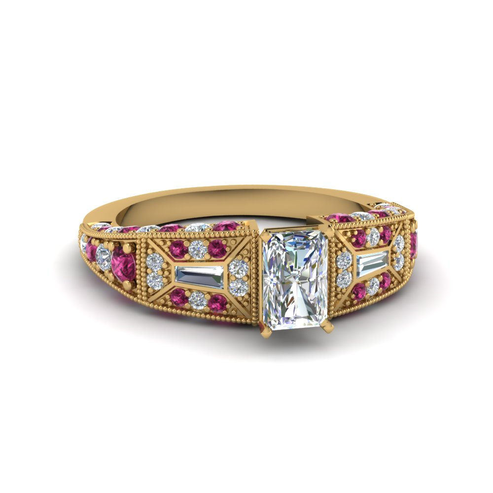 radiant cut victorian vintage style diamond engagement ring with pink sapphire in FDENR8601RARGSADRPI NL YG