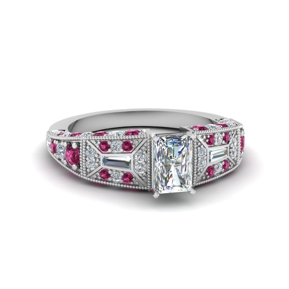 radiant cut victorian vintage style diamond engagement ring with pink sapphire in FDENR8601RARGSADRPI NL WG