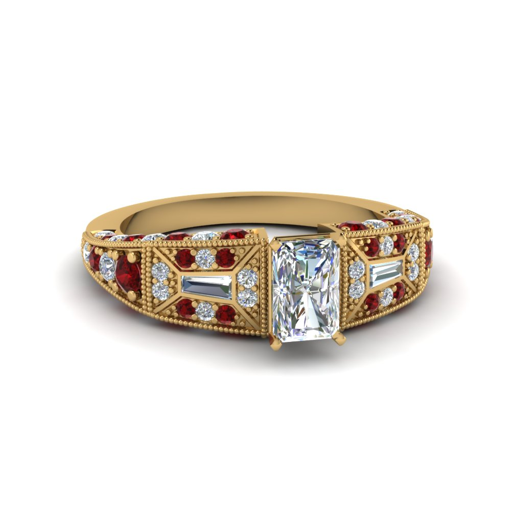 radiant cut victorian vintage style diamond engagement ring with ruby in FDENR8601RARGRUDR NL YG