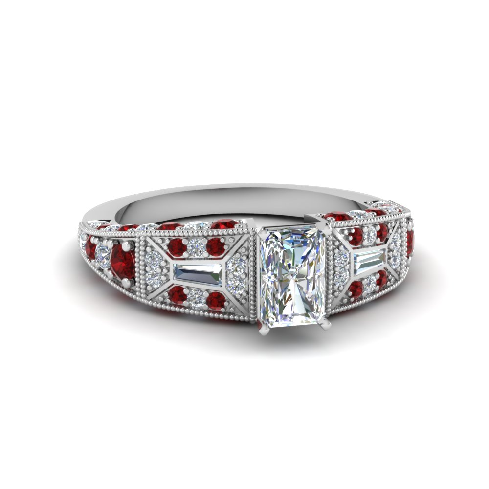 radiant cut victorian vintage style diamond engagement ring with ruby in FDENR8601RARGRUDR NL WG