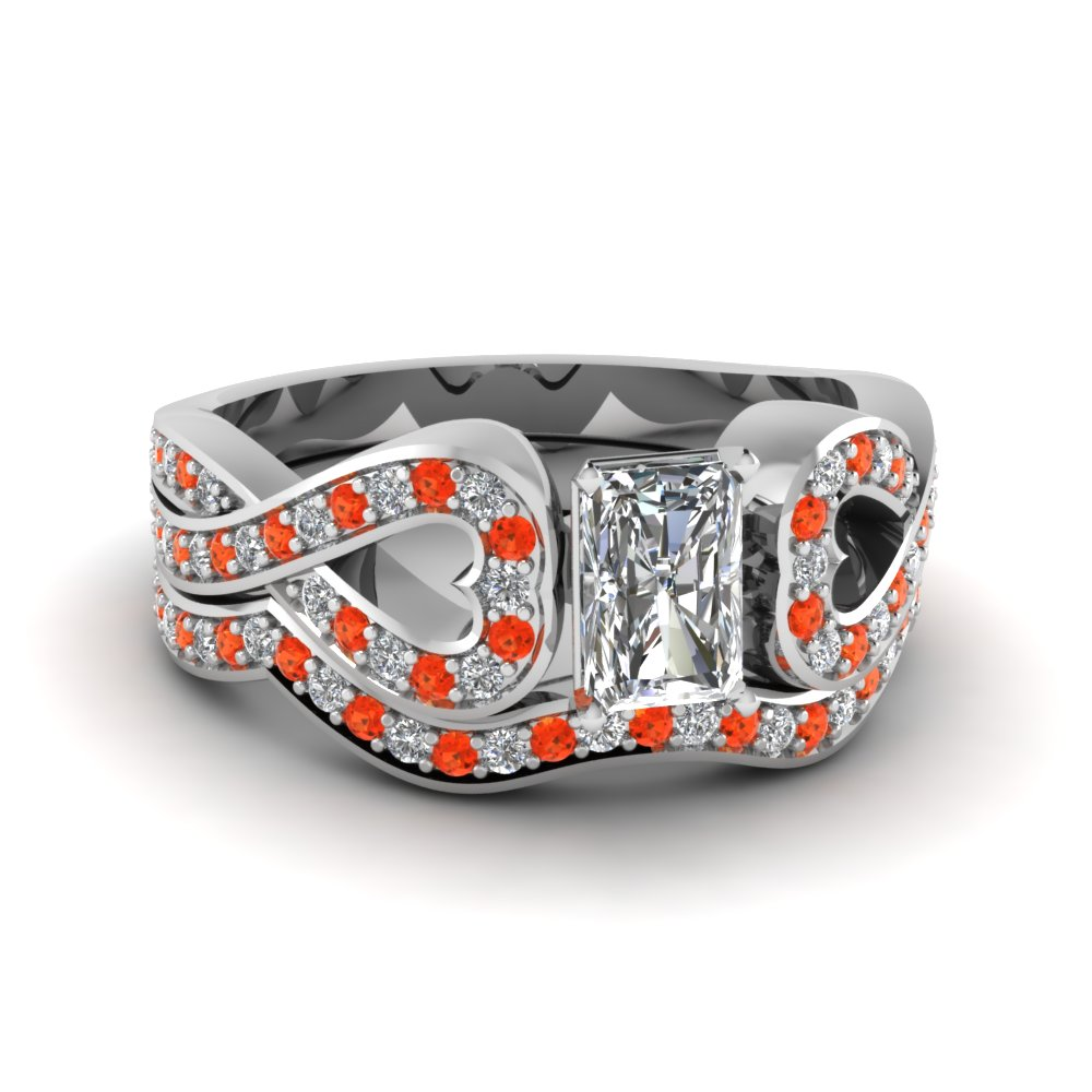 Entwined Radiant Diamond Wedding Ring Set With Orange Topaz In 14K White Gold