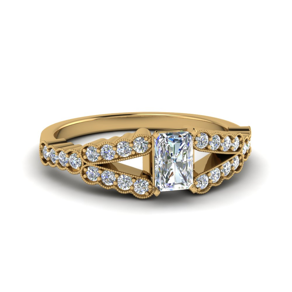 Radiant Cut Milgrain Engagement Ring