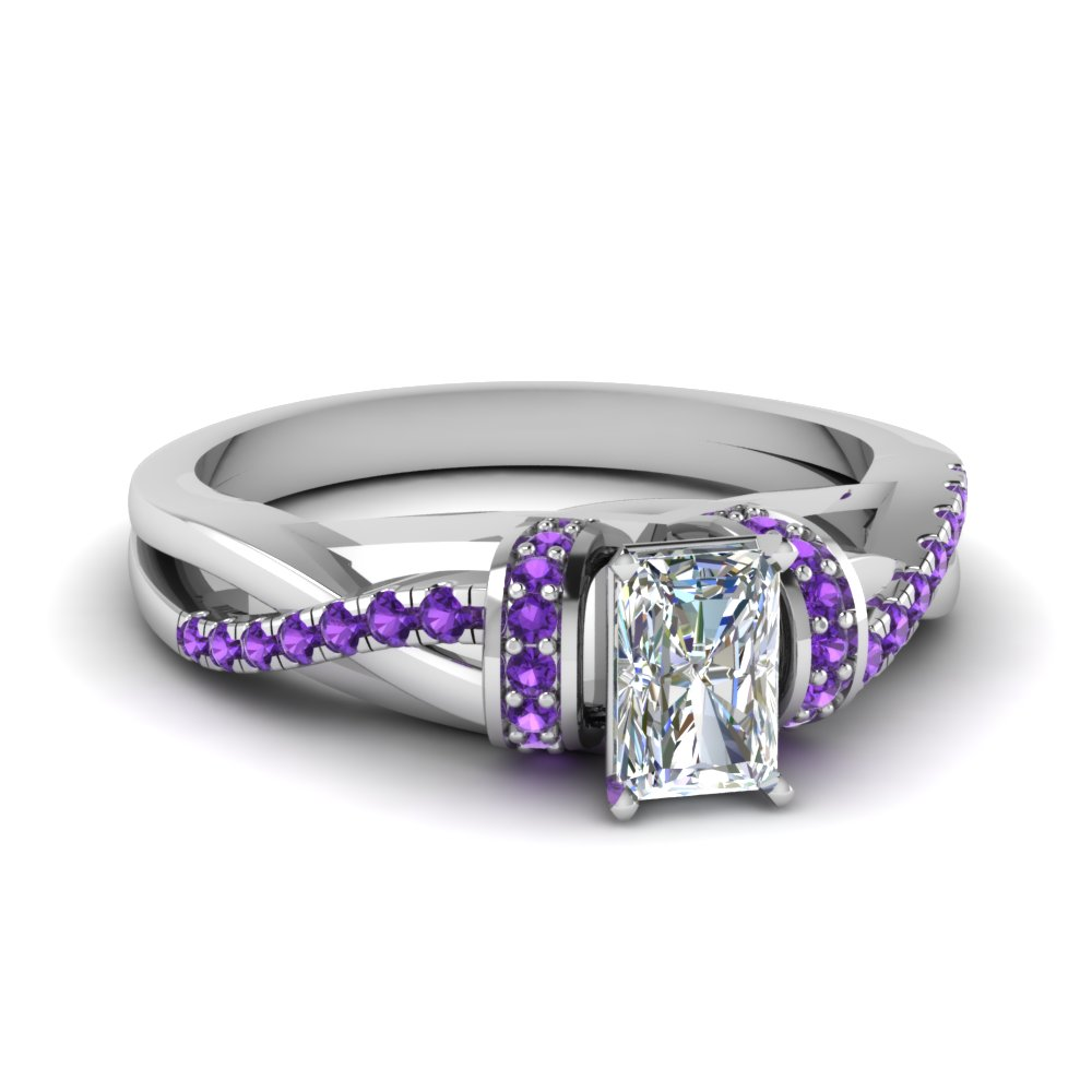 Radiant Cut Purple Topaz Engagement Rings