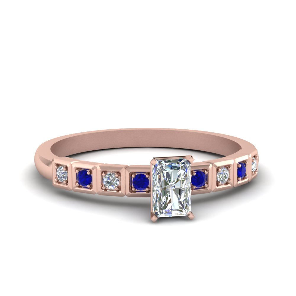petite block design radiant cut diamond engagement ring with sapphire in FDENS3047RARGSABL NL RG