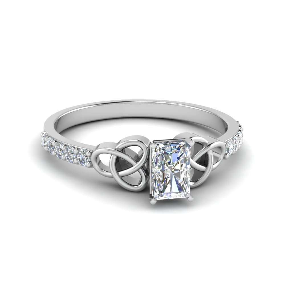 petite celtic radiant cut diamond engagement ring in FD8061RAR NL WG