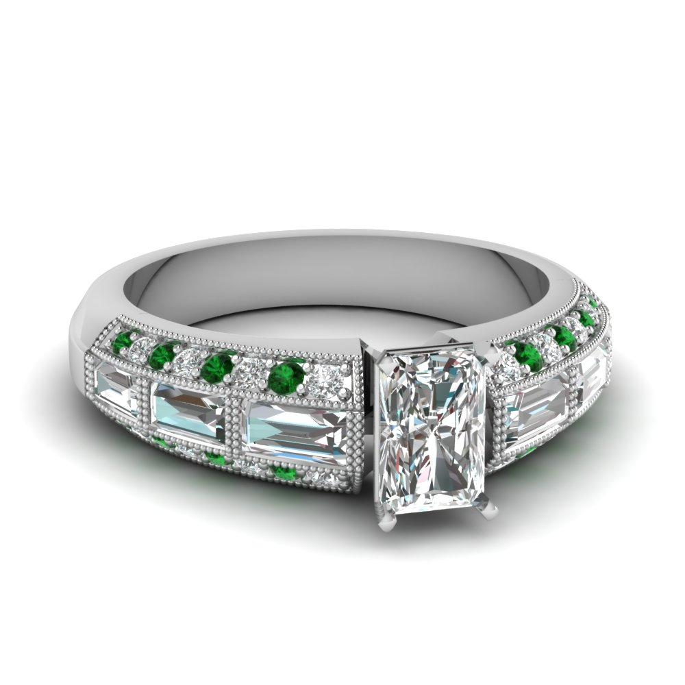 edwardian radiant diamond vintage engagement ring with emerald in FD62254RARGEMGR NL WG