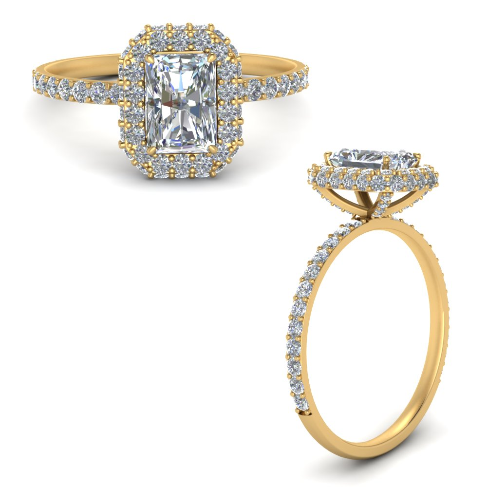 radiant cut rollover halo diamond ring in yellow gold FD9376RARANGLE3 NL YG