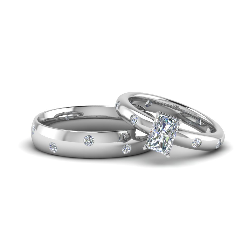 radiant cut shaped couple wedding rings his and hers matching anniversary sets gifts in 14K white gold FD8157B NL WG