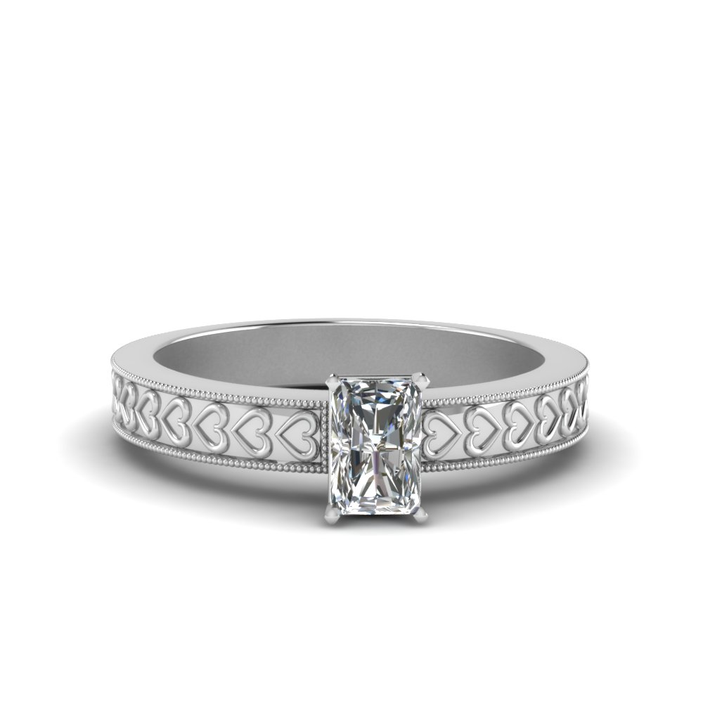 Heart Design Engraved Antique Radiant Cut Ring