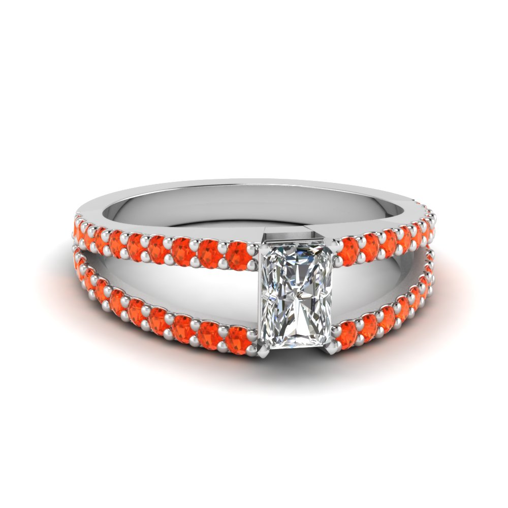 radiant cut split band gemstone with diamond engagement ring with poppy topaz in FDENR8335RARGPOTO NL WG GS