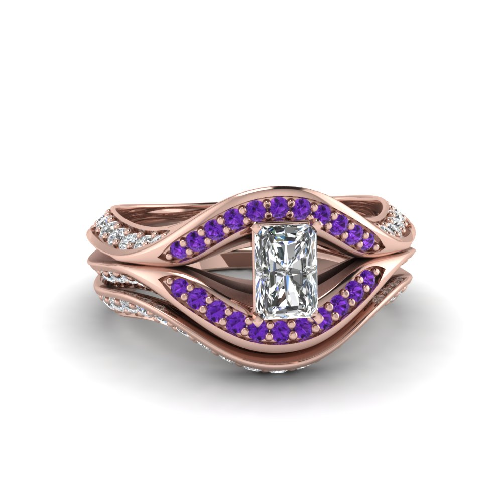 radiant cut split crossover halo diamond wedding set with purple topaz in FDENS3165RAGVITO NL RG