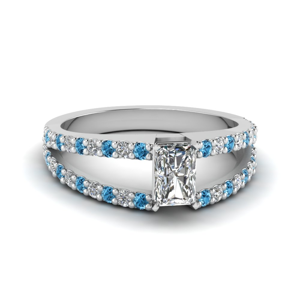 radiant cut split double band diamond engagement ring with ice blue topaz in FDENR8335RARGICBLTO NL WG