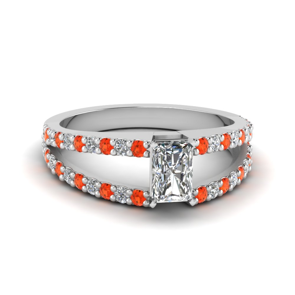 radiant cut split double band diamond engagement ring with poppy topaz in FDENR8335RARGPOTO NL WG