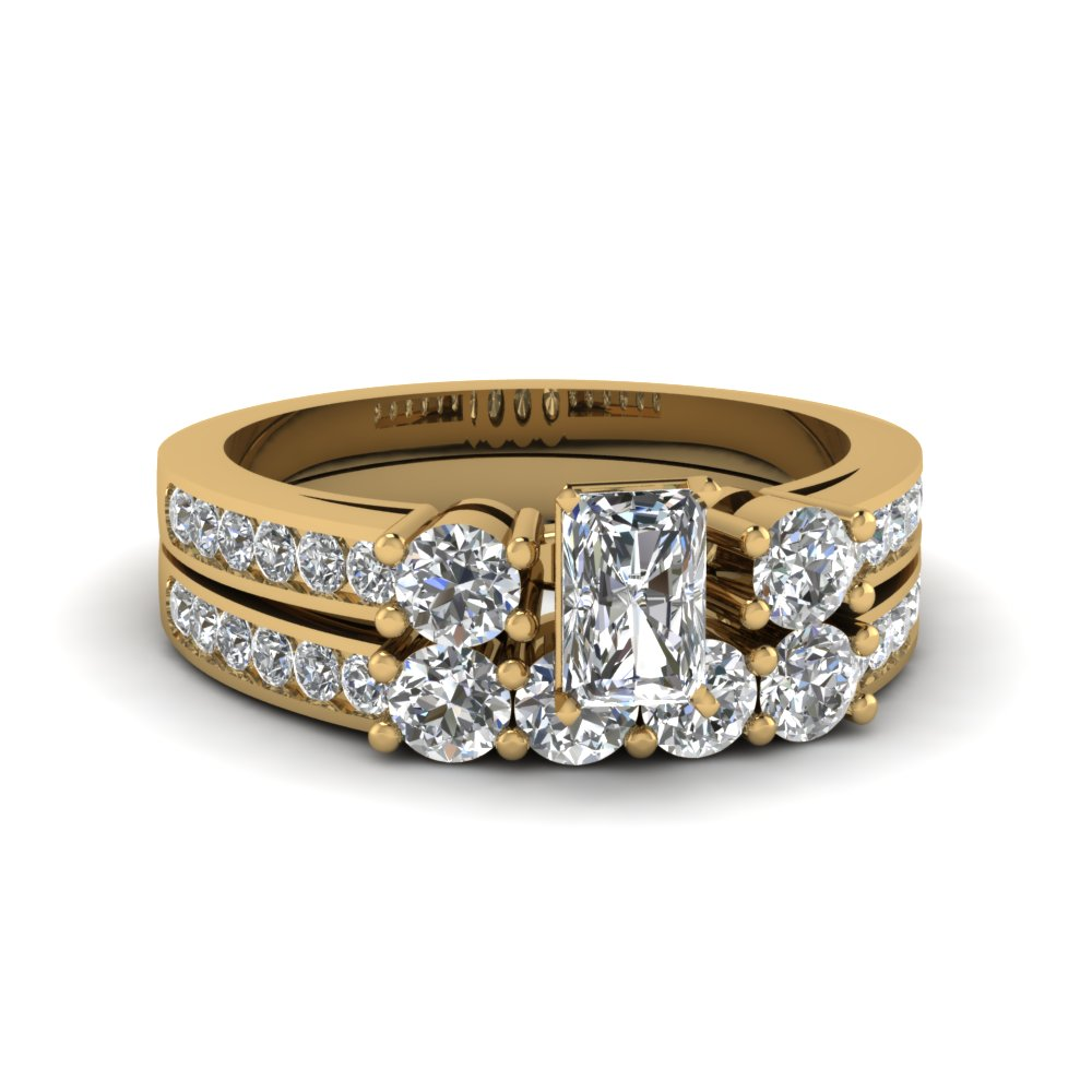Three Stone Channel Wedding Set