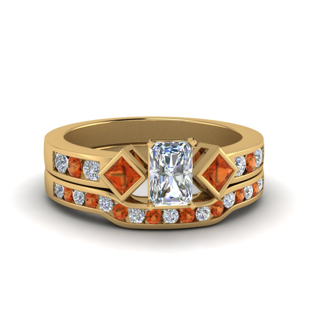 Radiant Cut Orange Sapphire Wedding Sets