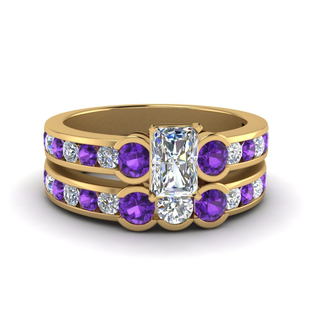 Radiant Cut Purple Topaz Wedding Set