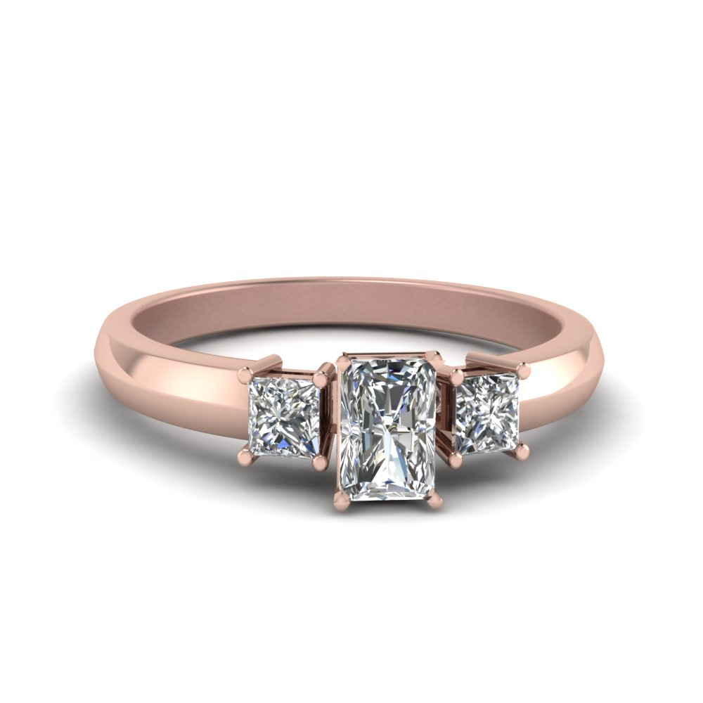 ring rose rings gold moissanite diamond carat band stacking unique cut engagement radiant