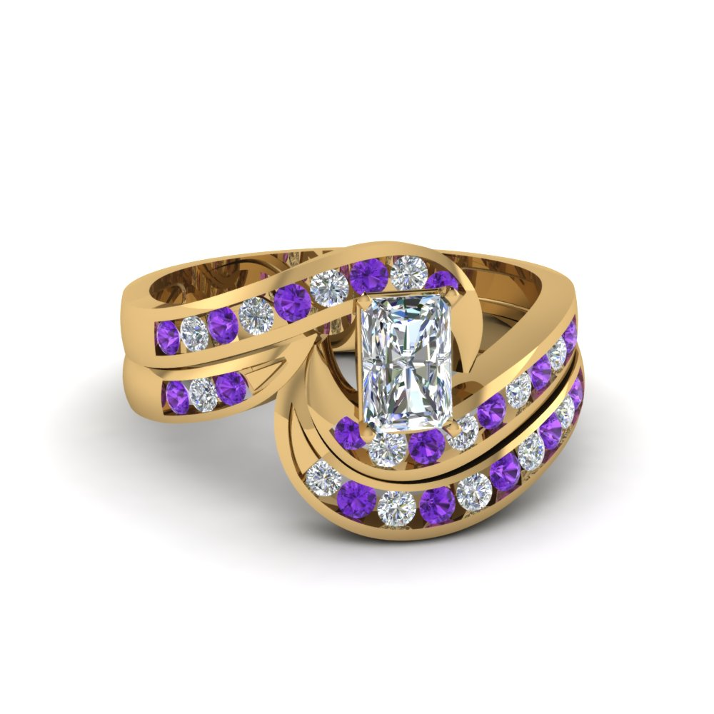 radiant cut twist channel set diamond wedding ring sets with violet topaz in 14K yellow gold FDENS594RAGVITO NL YG
