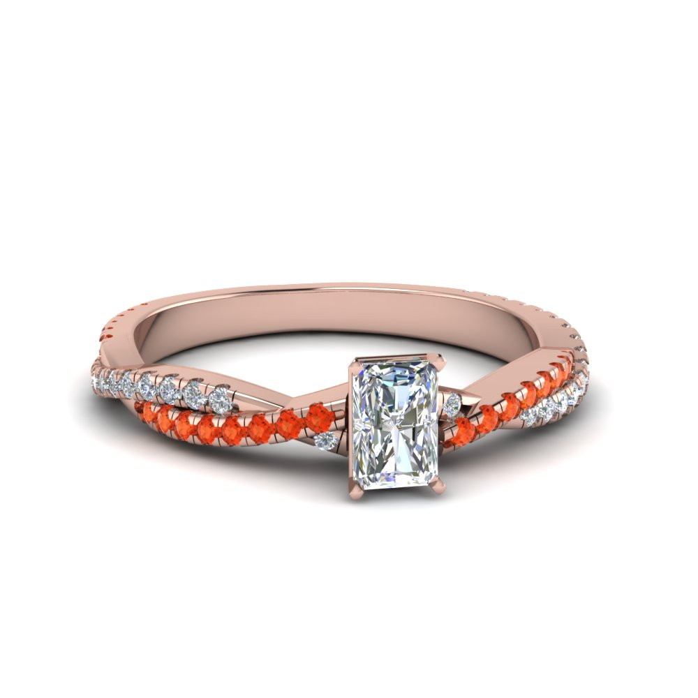 radiant cut twisted vine diamond engagement ring for women with poppy topaz in 14K rose gold FD8233RARGPOTO NL RG