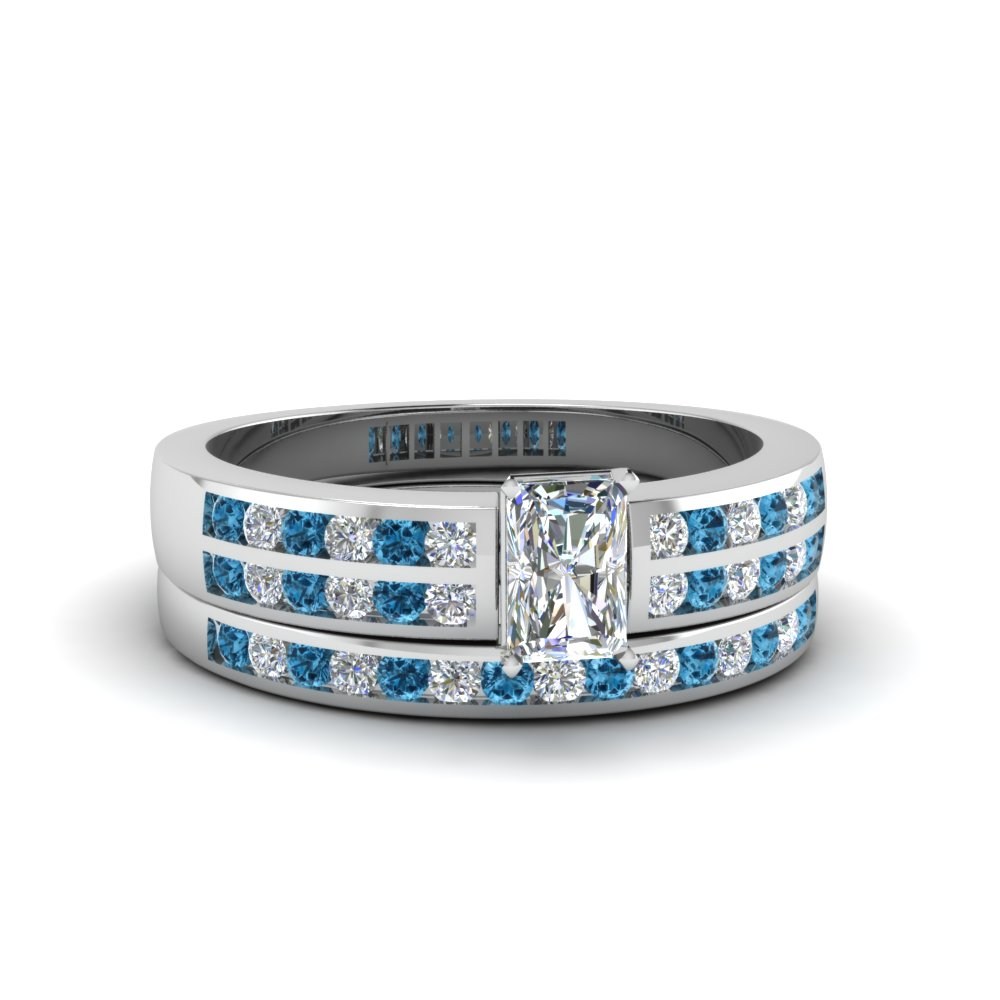 radiant cut two row channel diamond bridal set with blue topaz in 950 platinum FDENS3119RAGICBLTO NL WG