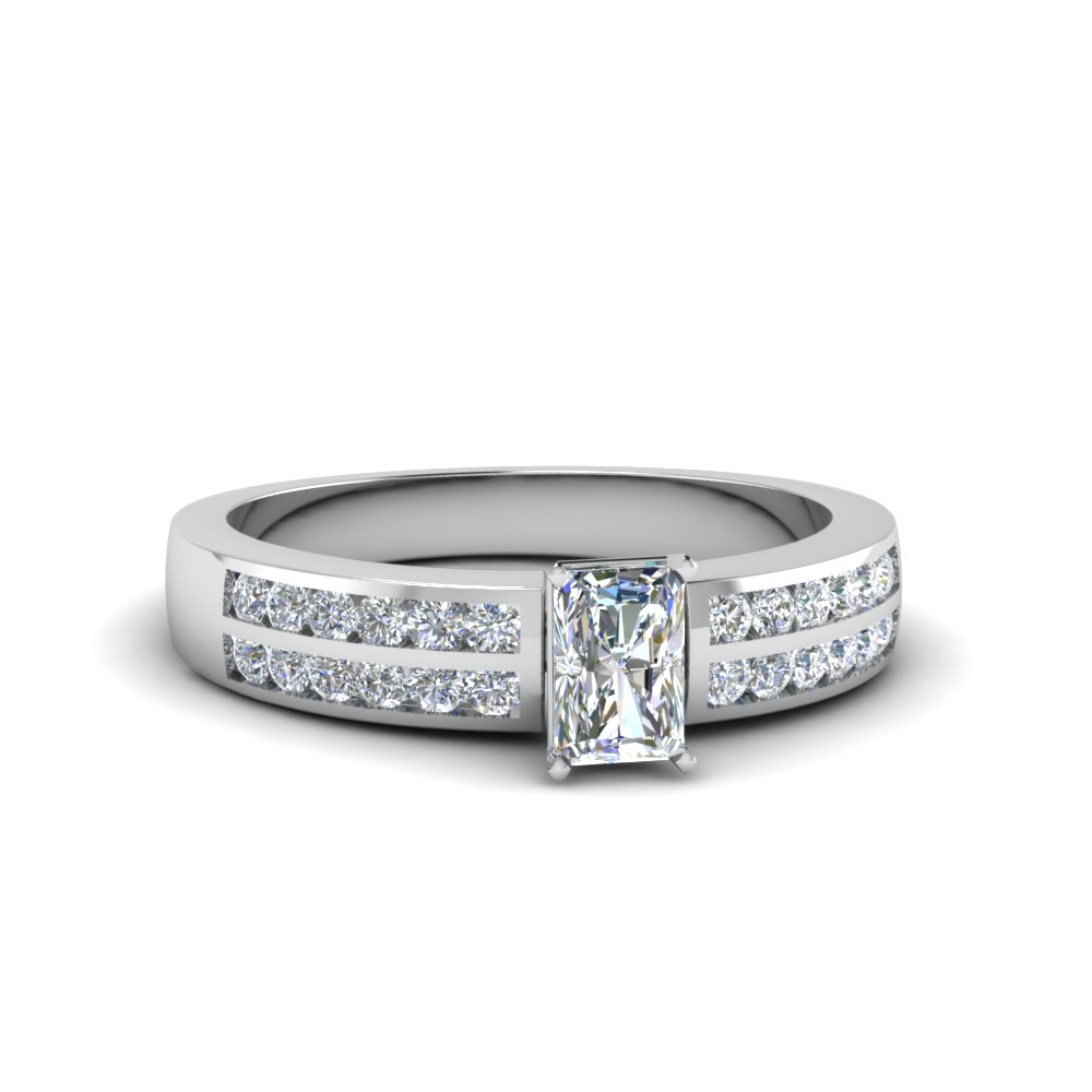 two row channel diamond radiant cut engagement ring in FDENS3119RAR NL WG