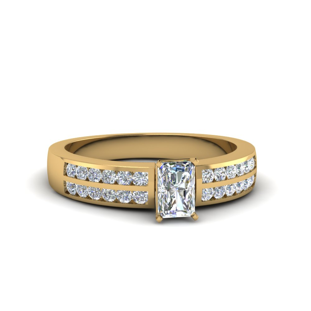 radiant cut two row channel diamond ring in 18K yellow gold FDENS3119RAR NL YG