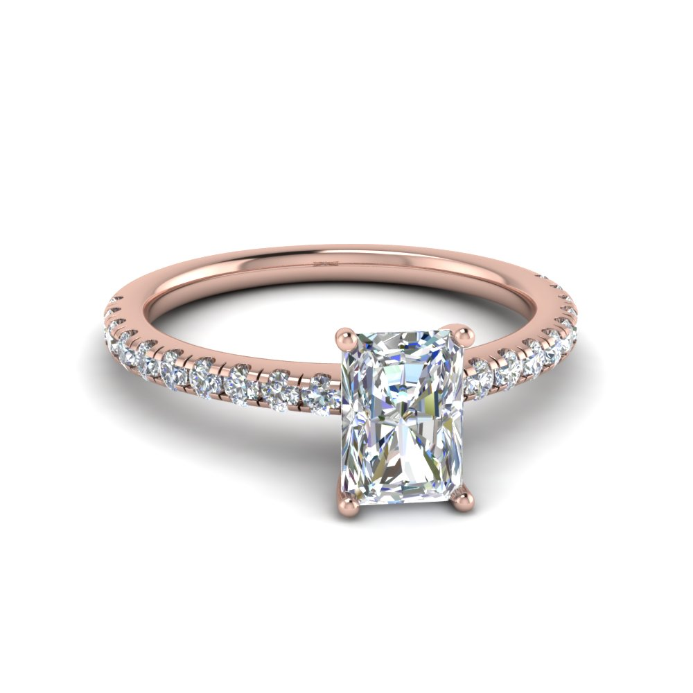 Radiant Cut U Prong Diamond Ring In 14K Rose Gold