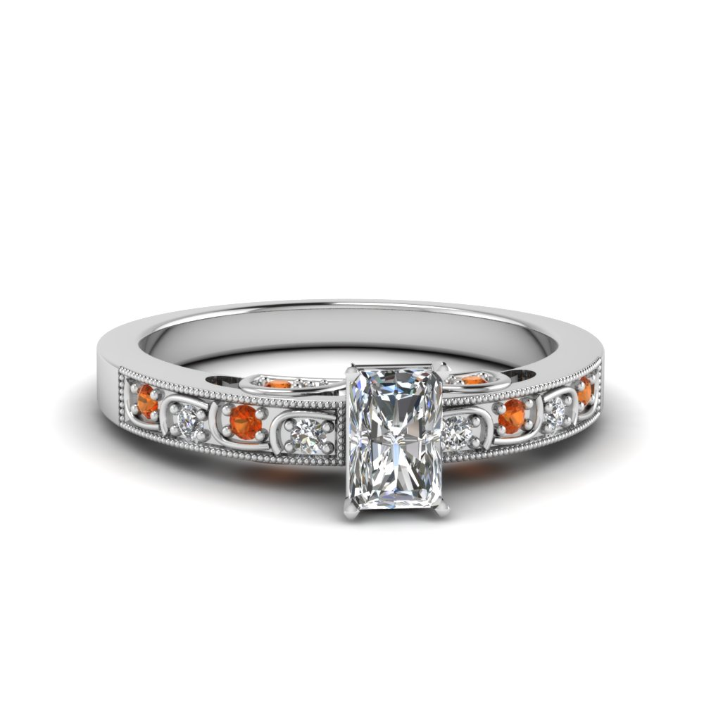 radiant cut vintage style pave diamond ring with orange sapphire in FD62292RARGSAOR NL WG