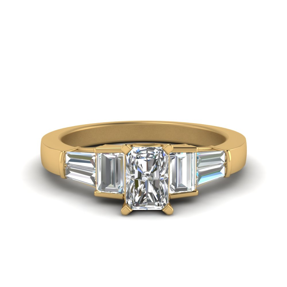 radiant cut with baguette diamond big engagement ring in 14K yellow gold FDENR2708RAR NL YG