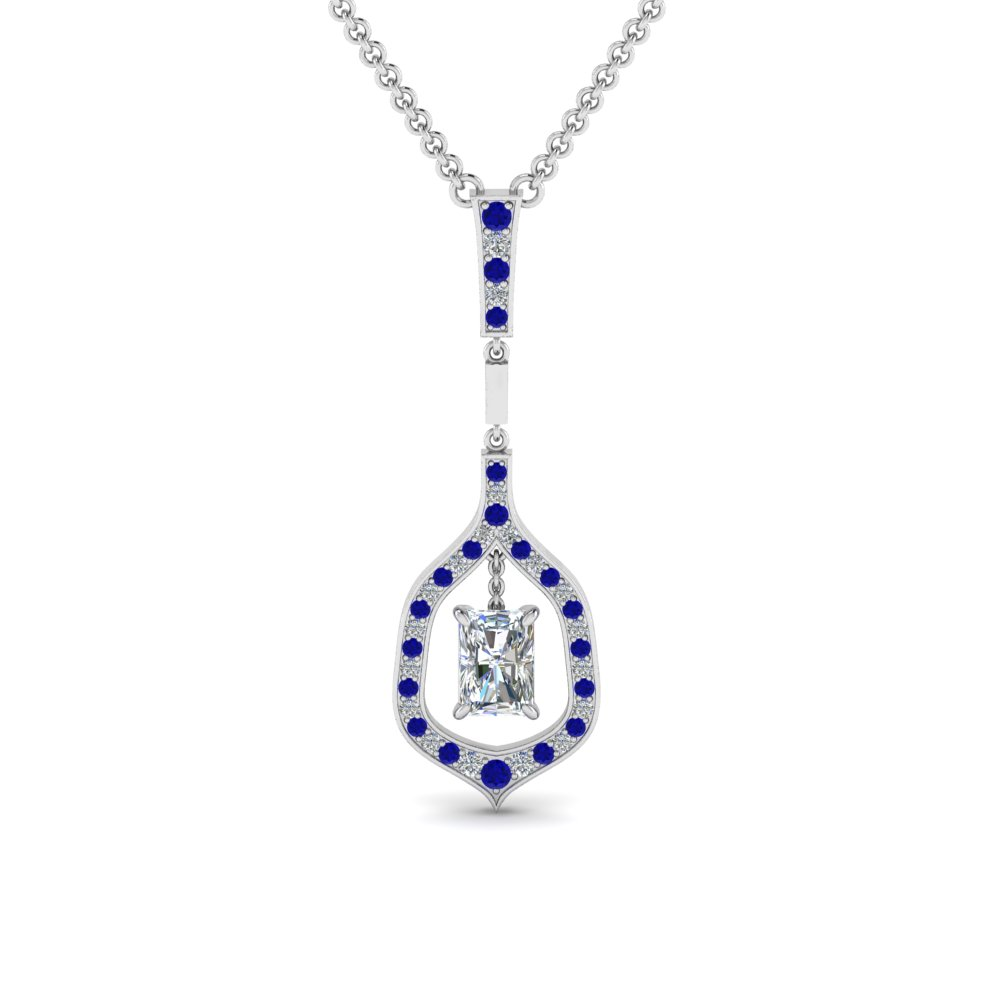 radiant drop diamond necklace with sapphire in FDPD8489RAGSABL NL WG