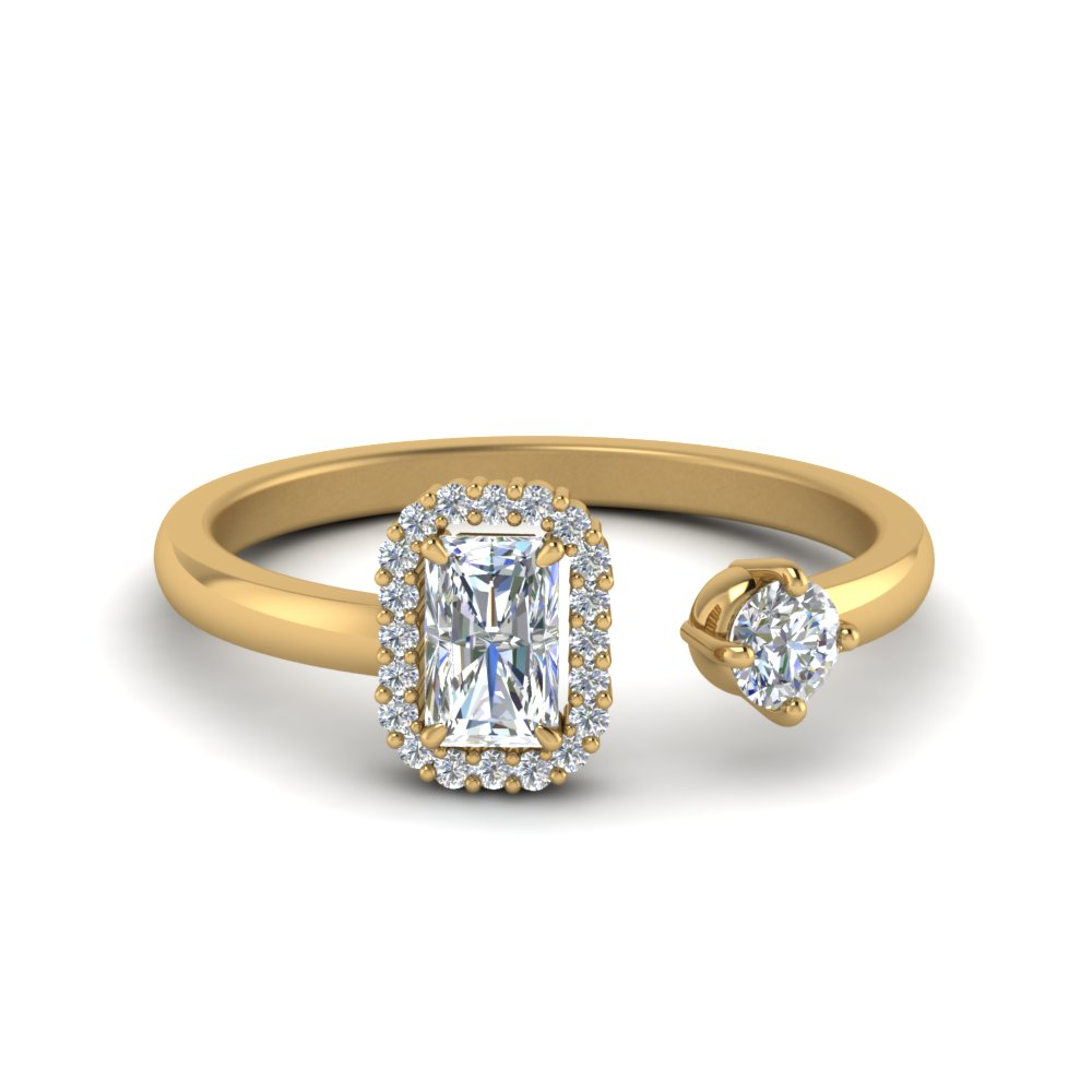 Radiant Halo Diamond Open Ring In 14K Yellow Gold