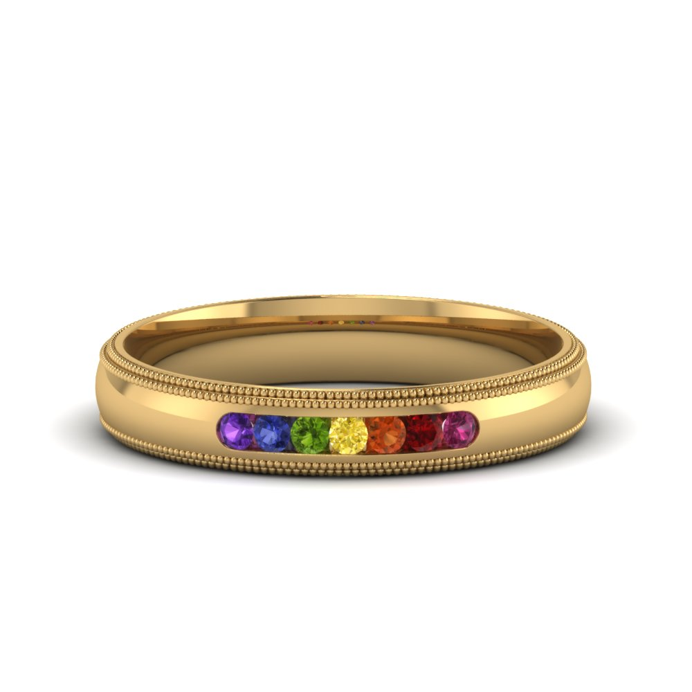 rainbow 7 stone milgrain band in FD122719BG NL YG